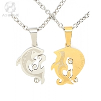 AgentX 2pc Chain Lover Couple Fish Fashion Silver Dolphin Stainless Steel Pendant Necklace Gift Fashion Jewelry