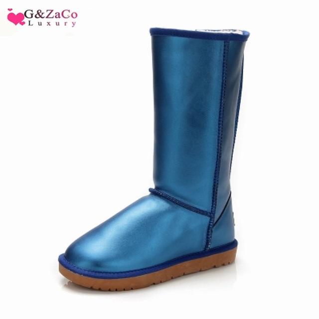G & Zaco Lüks Su Geçirmez Uzun Kar Botları Hakiki Deri Düz Diz Yüksek Tüp Inek Derisi Moda Çizmeler kadın kışlık Botlar