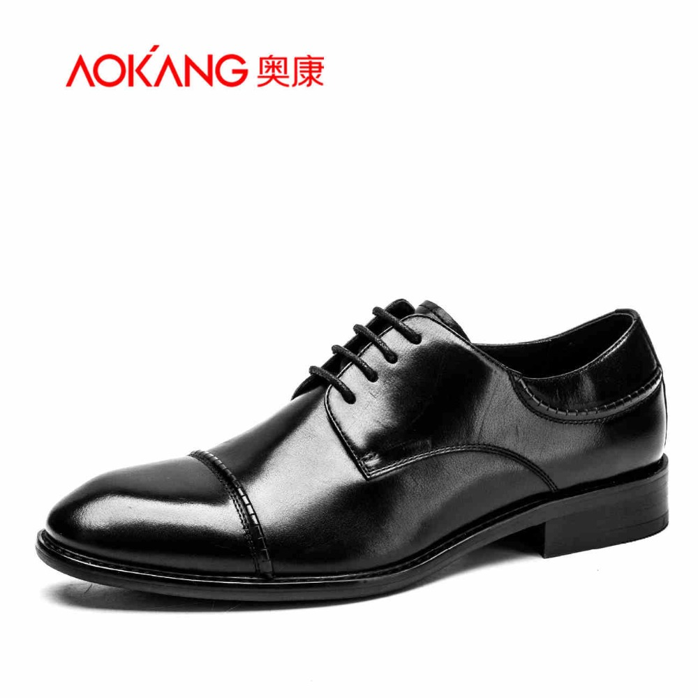 Aokang 2017 New designer Men's leather shoes classical male Dress Shoes black Business pointed toe office shoes for men