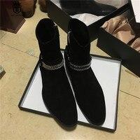 Real Picture Handmade Sliver Chain Decoration Ankle Strap Suede Black Oblique Zipper Men Chelsea Boots Genuine