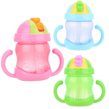 240ML Baby Cup Children Drinking Cup Training Cup Baby Feeding Straw Cup Anti-wrestling Watertight Green, Blue, Pink