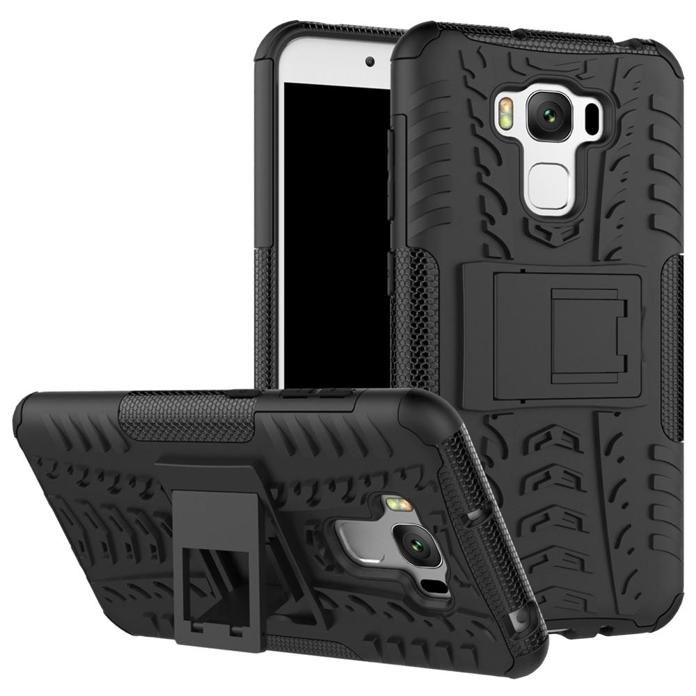 Цена за 30 шт./лот шины Прочный Heavy Duty резиновые трудный случай с Подставки для Asus Zenfone 3 Max 5.5 дюйма ZC553KL 5.2 дюймов ZC520TL