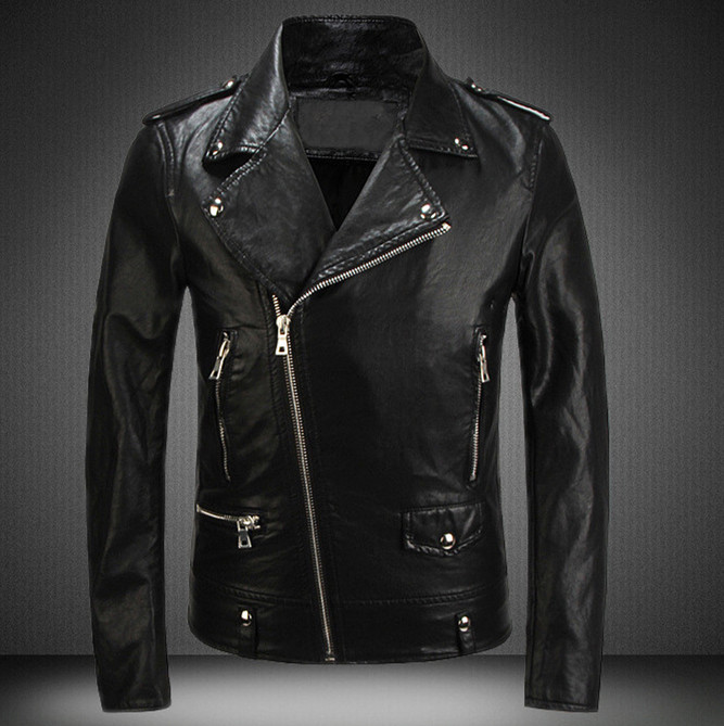 Punk French Brand Mens Luxury Leather Jackets and Coats Turn Down ...