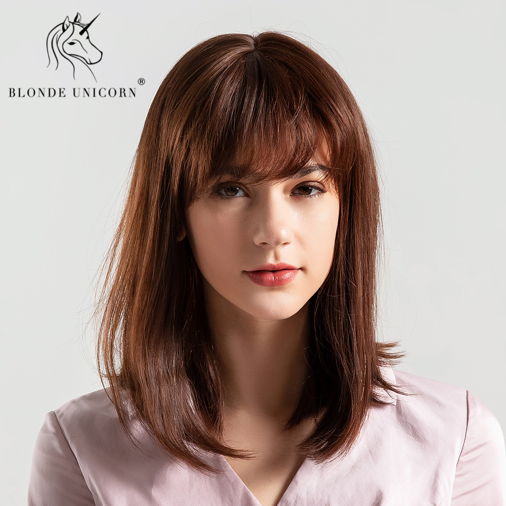 BLONDE UNICORN 18 Inch Synthetic Women's Wigs 50% Human Hair Dark Brown Side Bangs Natural Long Wavy With Highlights Full Wig