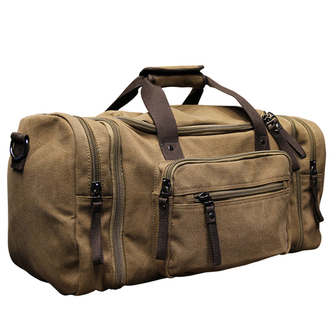 Xiao.p Vintage military Canvas men travel bags Carry on Luggage bags Men Duffel bags travel tote large weekend Bag Overnight Multan