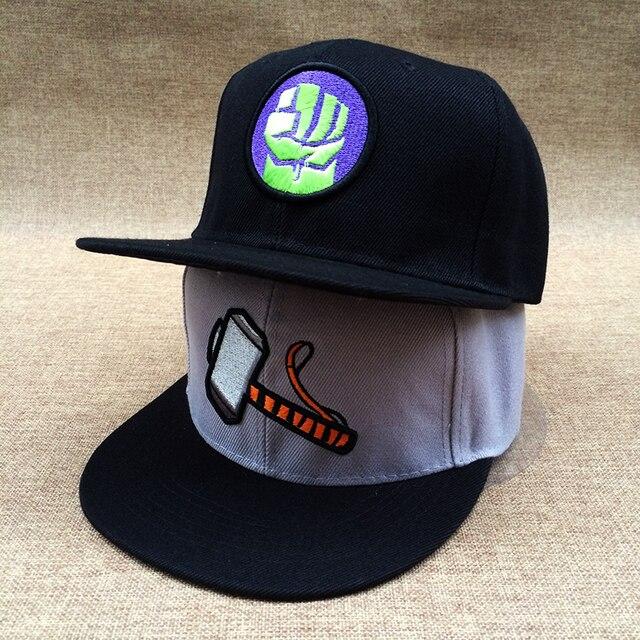 94e48ea1c89cd Fashion designer marvel logo snapback cap captain america hulk fist cartoon  baseball hat for men women