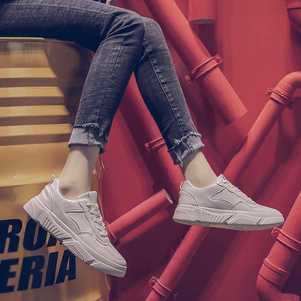 ผู้หญิงวิ่งรองเท้าสบายๆ Breathable กีฬารองเท้ากลางแจ้ง Cushioning รองเท้าผ้าใบสีทึบ Casual รองเท้า zapatos mujer