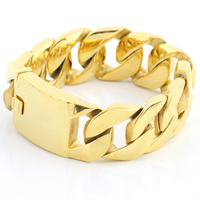 Fashion Golden Curb Chain Link Bracelets Link Wrist Gold Punk Rock Biker Retro Gothic Large Heavy