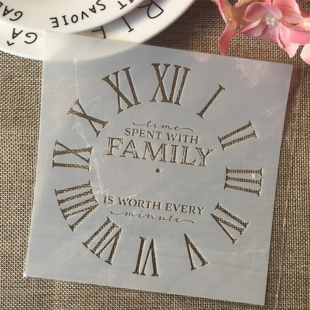 6*6inch Clock Family Dial DIY Layering Stencils Painting Scrapbook Coloring Embossing Album Decorative Card Template