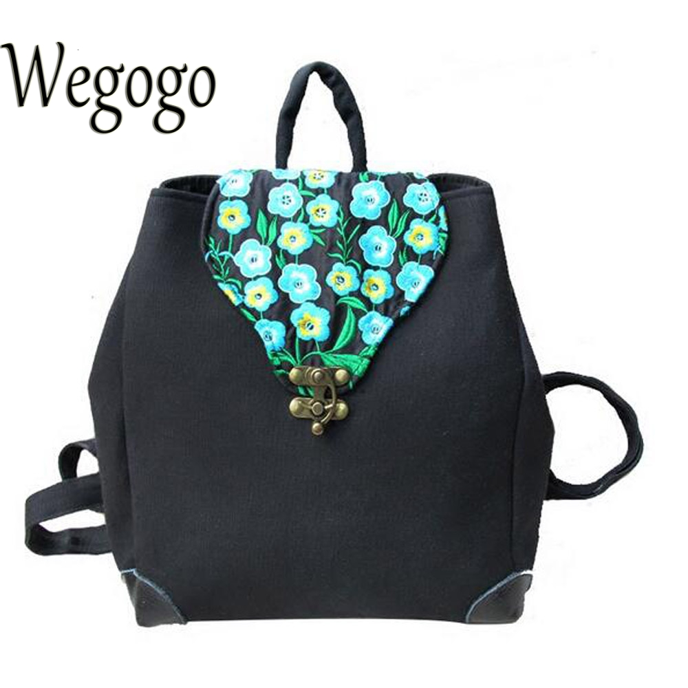 Vintage Women Backpack Ethnic Canvas Handmade Flower Embroidered Shoulder Bag Travel Girl Schoolbag Rucksack Mochila Woman scione ethnic canvas backpack printing elephant butterfly drawstring casual rucksack travel shoulder bag mochila feminina xa739a