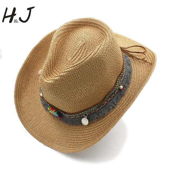 2a49ab77 Women Men Summer Straw Western Cowboy Hat With Roll Up Wide Brim Jazz Hat  Dad Tassel