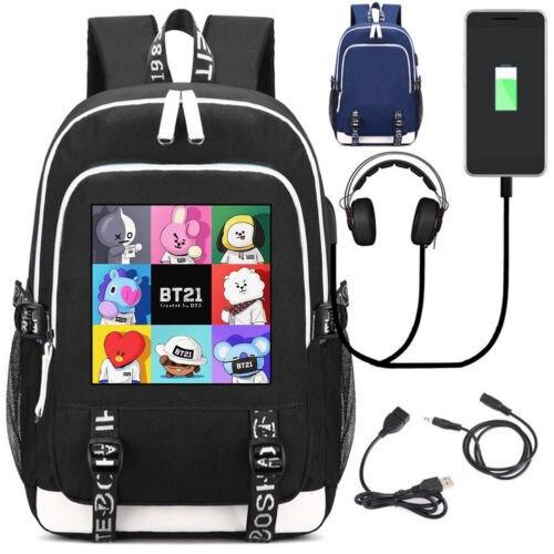 New Laptop Backpack External USB Charge Bag BTS BT21 TATA SHOOKY Headset port Backpack Shoulder School Bags
