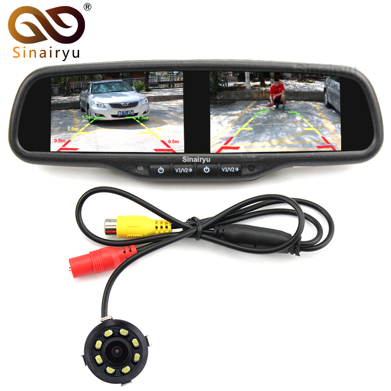 4.3 Dual 800*480 Screen Car Rear View Mirror Monitor Video Player With 8 LED lights Car Reverse Rearview Backup Parking Camera 2 4ghz wireless car rear view monitor 5 inch tft lcd 800 x 480 car rearview parking monitor auto car backup reverse camera