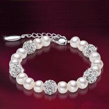 Agua fresca brazalete de perlas 100% Natural, brazalete de perlas blancas con perla de  joyería para mujeres