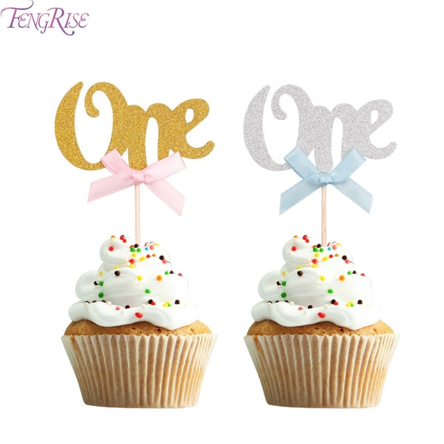 FENGRISE First Birthday Cupcake Toppers Gold Silver Boy Girl Happy