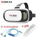 Leather VR BOX 2.0 Update 3D Glasses Headset HD Cardboard Virtual Reality Helmet for Smartphone + BT controller led earphone