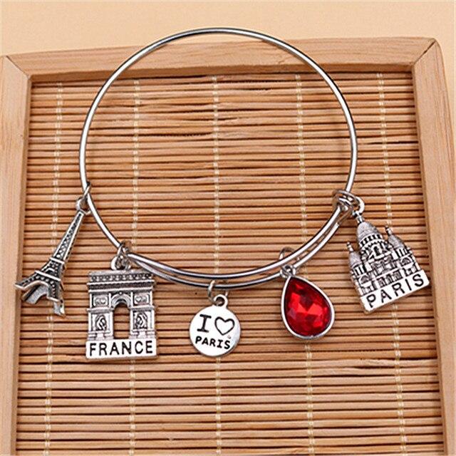 1pc I Love Paris Charm Eiffel Tower Notre Dame Arc De Triomphe Pendant DIY Travel Jewelry Metal Event Adjustable  Bangles A1588