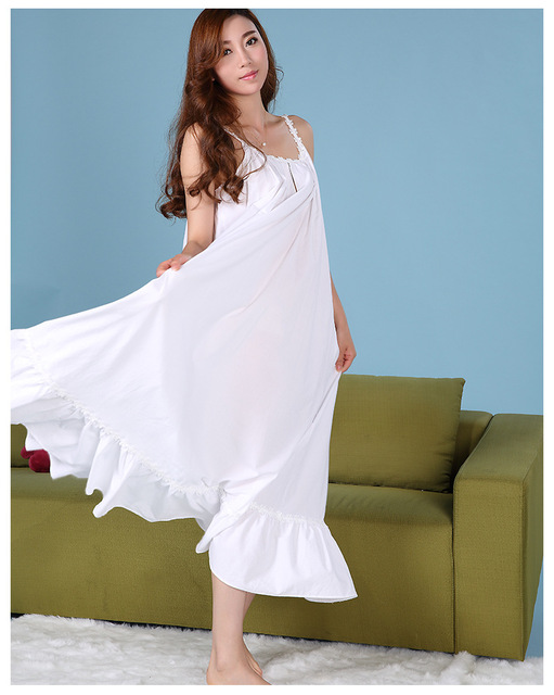 Nightgowns Women Summer Sexy Straps Skirt Woven Cotton White Long  Nightdress Women s Lounge Night-robe Sleepshirts Evening Dress 57162cfdf