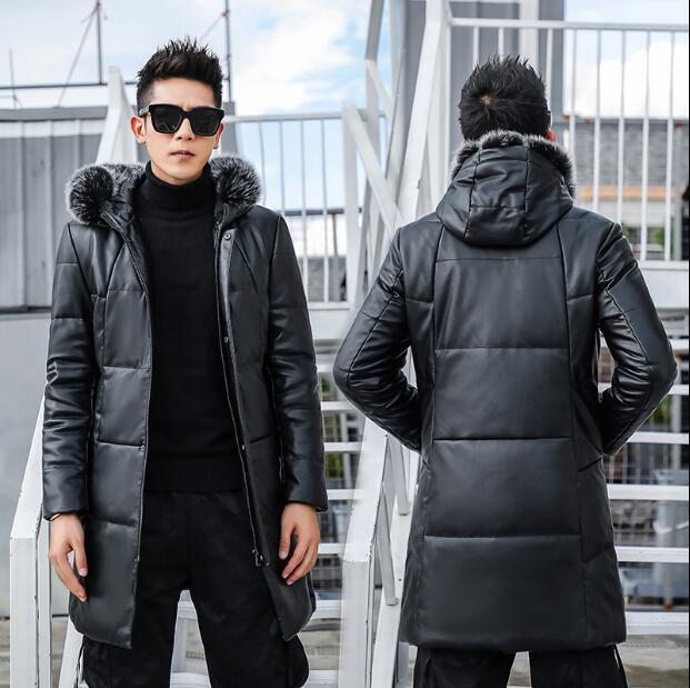 Fourrure Nouvelle Noir De Veste Hommes Vers Le Mode Col Bas En Moutons Épais Longue Cuir Peau Mince Jeune Hiver Capuchon À gUCxqgRwr