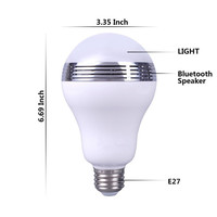 Portable Smartphone App Controlled LED Light Bulb Multi Color Flash Smart Wireless Bluetooth Speaker Music Player