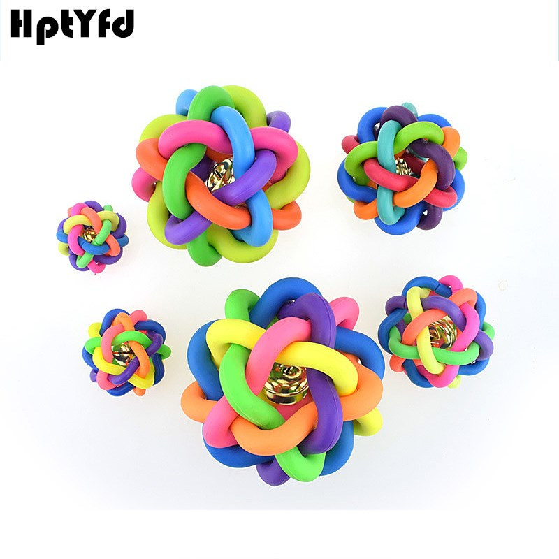 4Size Colorful Pet Dog Toy Bells Gummi Små Store Hunder Chew Toys Teething Training Ball Uforgjengelig Leker Doggy Funny Games