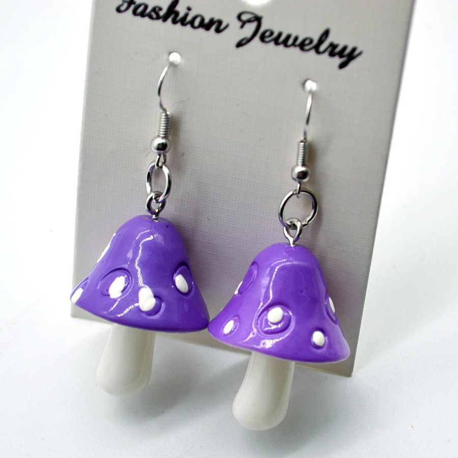 YULUCH 2018 Fashion Woman Sweet Fresh Handmade Plastic Simulation Mushroom Earring Jewelry Accessories Gift