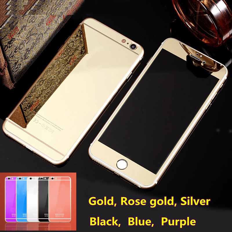 2016 Rushed Limited Case With Logo Front+back Mirror Tempered Glass For Iphone 6 & 6s 4.7 Inch Screen Protector Color Plate Film