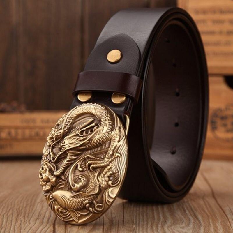 Marque casual de luxe en laiton massif dragon elliptique boucle pour hommes  pleine fleur en cuir 542d5c54325