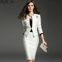 Women Skirt Suits Long Sleeve O Neck Women Professional OL Suits New Style Women Formal Occasion Skirt Suits Two Piece Custom