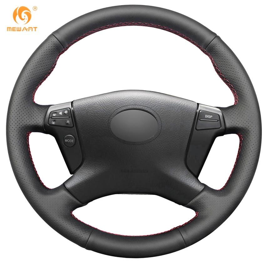MEWANT черный подлинная кожаный руль Обложка для Тойота Авенсис 2003-2007