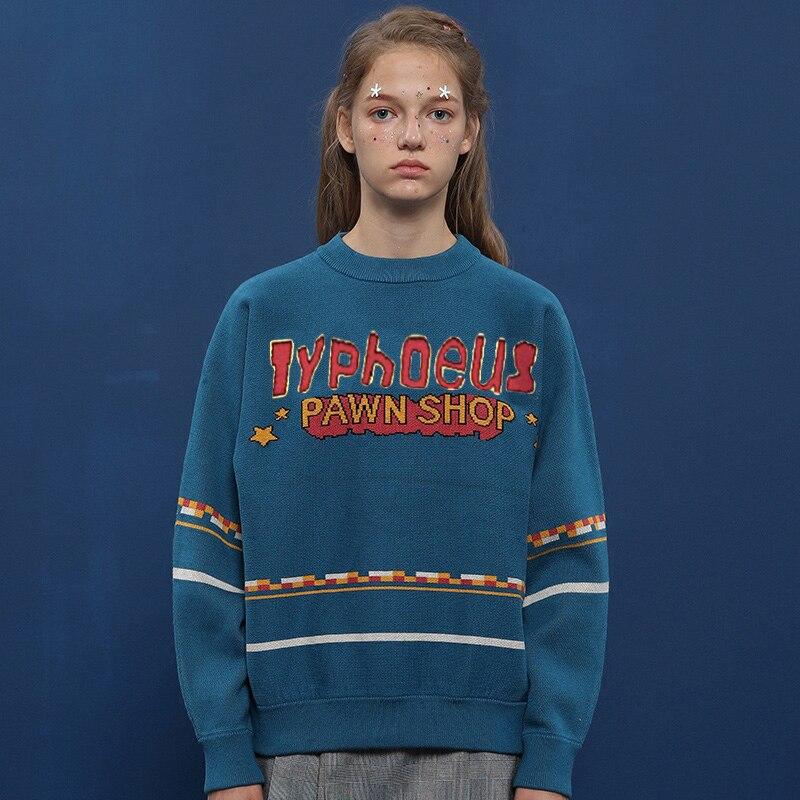 2017 Neue Vintage Casual Frauen Pullover Hochwertigen Pullover Strickwaren Oneck Briefe Jacquard Dicke Lose Winter Stricken Tops