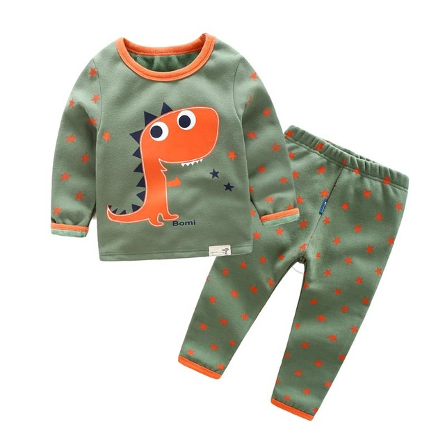 Cartoon Dinosaur Image Fancy Design Underwear Children's Clothing Set Sleepwear Cotton Pyjamas Set