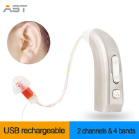 AST E33 Rechargeable Digital Hearing Aid 2 Channels 4 Bands Auidphones Microphone Amplifier To Profound Deaf