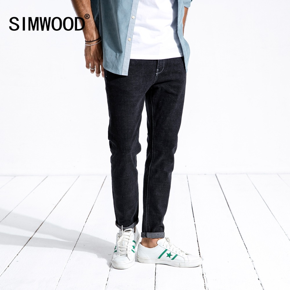 SIMWOOD 2019 Winter   Jeans   Men Casual Slim Fit Biker   Jeans   For Man Cotton Heavyweight Denim Trousers High Quality 180363