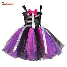 Tonlinker 2018 New Girls Tutu Dresses Festival Costume Children Party Prom Clothing 2-12 Years Kids Halloween Dress Evil queen