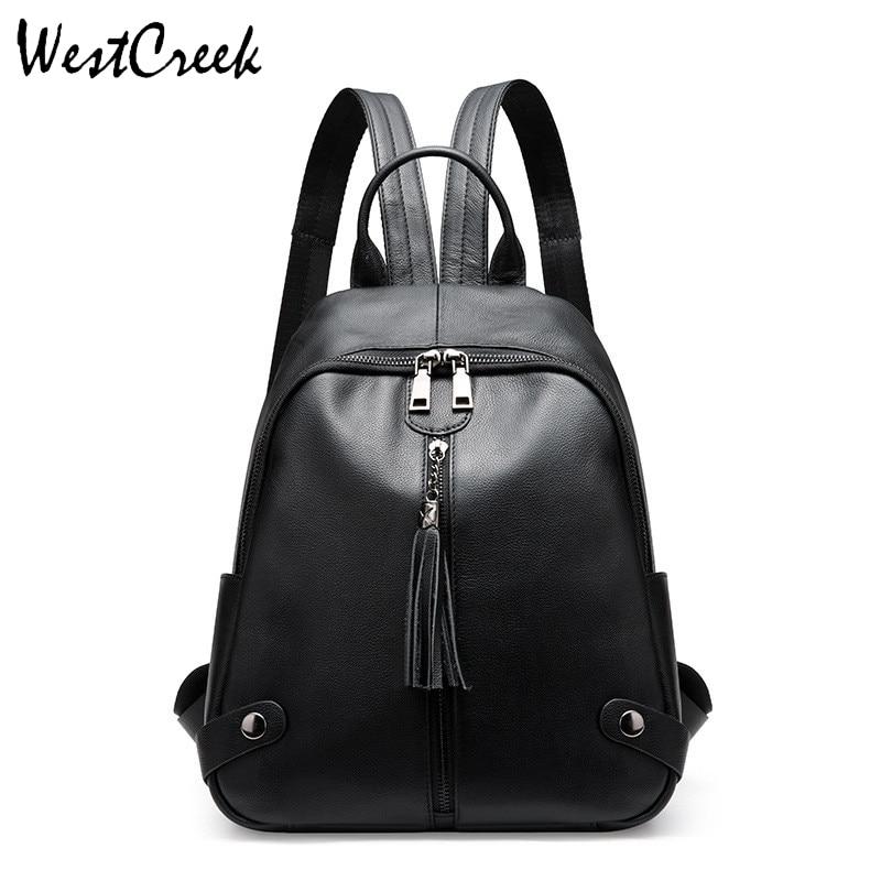 WESTCREEK Brand Fashion Genuine Leather Backpack for Women Cow Leather Lady Black Bagpack Tassel Bag