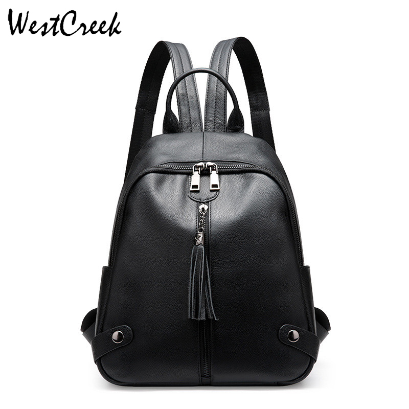 WESTCREEK Brand Fashion Genuine Leather Backpack for Women Cow Leather Lady Black Bagpack Tassel BagWESTCREEK Brand Fashion Genuine Leather Backpack for Women Cow Leather Lady Black Bagpack Tassel Bag