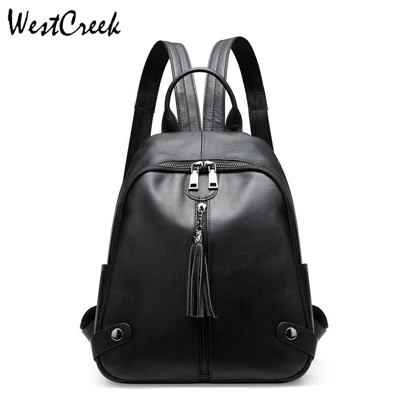 Bagaj ve Çantalar'ten Sırt Çantaları'de WESTCREEK Marka Moda Hakiki Deri Sırt Çantası Kadın Inek Deri Bayan Siyah Sırt Çantası Püskül Çanta'da  Grup 1