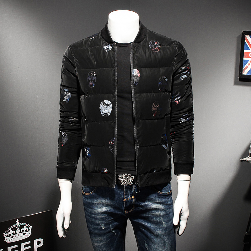 Top Quality Winter Men Jackets Fashion 2017 Plus Size Padded Bomber Jacket Slim Fit Chinese Style Print Parka Men Coat Plus Size