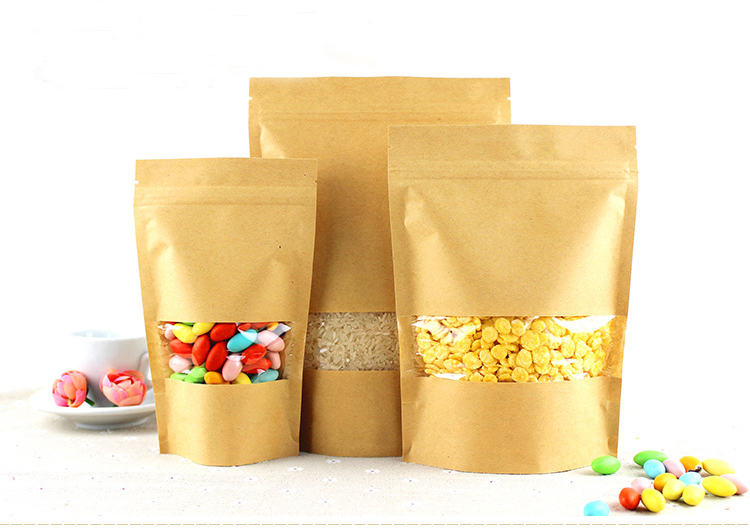 12 20 4cm 1000pcs Stand Up Clear Window Brown kraft paper bags with Zipper lock for