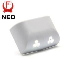 2PCS NED Universal 0.25W Inner Hinge Six LED Sensor Nigjt Light For Kitchen Bedroom Living Room Cabinet Cupboard Closet Wardrobe