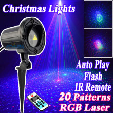 Waterproof IP65 Christmas Lights Outdoor RGB Laser Showers Projector Motion With IR Remote 20 Pattern Fairy Lights Luminaria