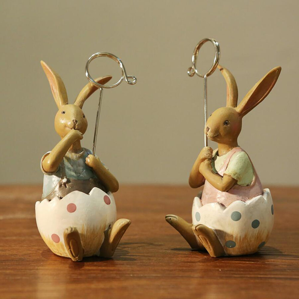 Home decoration items - Handicrafts For Clip Notes Of Resin Decoration Of Couple Rabbit For Home Decor Best Gift For