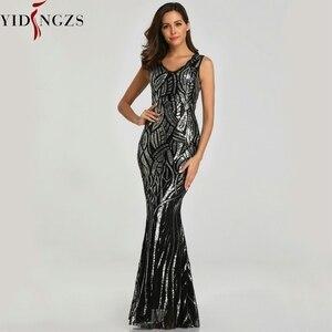 Image 4 - YIDINGZS חדש פורמליות פאייטים שמלת ערב 2020 V צוואר ואגלי ערב מסיבת שמלת YD360