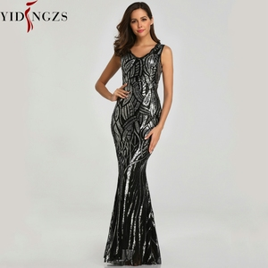 Image 4 - YIDINGZS New Formal Sequins Evening Dress 2020 V neck Beading Evening Party Dress YD360