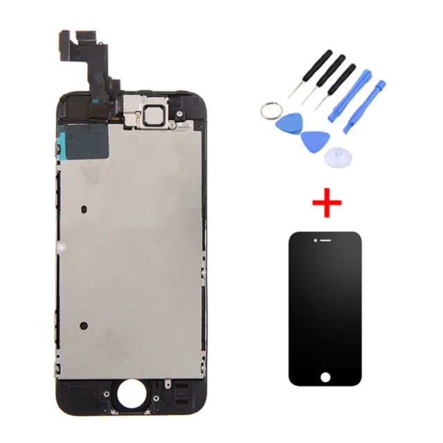 380f6f0927974d Black White LCD for Apple Iphone 5S LCD Screen Replacement Digitizer  Assembly+Front Camera Full set assembled(no home button)