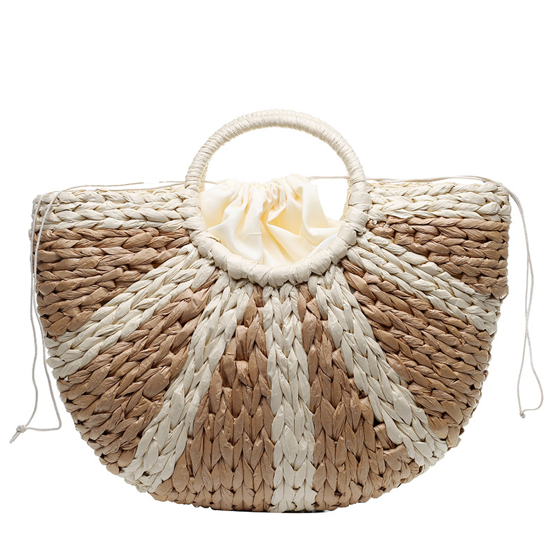 2019 New Striped Contrast Basket Women Straw Semicircle Handbag Hawaiian Beach Tote Bag Luxury Designer Female Hand Bag bolso2019 New Striped Contrast Basket Women Straw Semicircle Handbag Hawaiian Beach Tote Bag Luxury Designer Female Hand Bag bolso