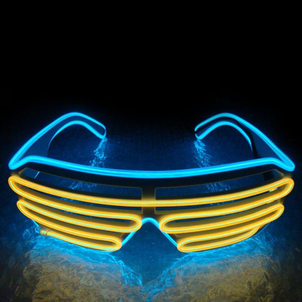 Умный светодиодный пульт дистанционного управления, стекло es, стекло EL Wire, модный неоновый светодиодный светильник в форме затвора, стекло es Rave DJ, яркие вечерние костюмы - Цвет: blue yellow