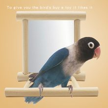 2017 Funny Wooden Bird Toy Mirror Fun Toys For Parrots Cockatiel Vogel Speelgoed Small Birds Parrot Toys Pet Toy Accessories(China)