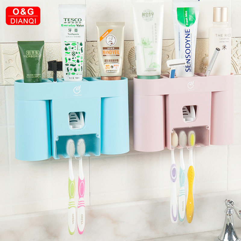 1Set Pink Green Toothbrush Holder Suction with Toothpaste Squeezer with Cups for 2/3/4Persons in Bathroom Accessories Storage image